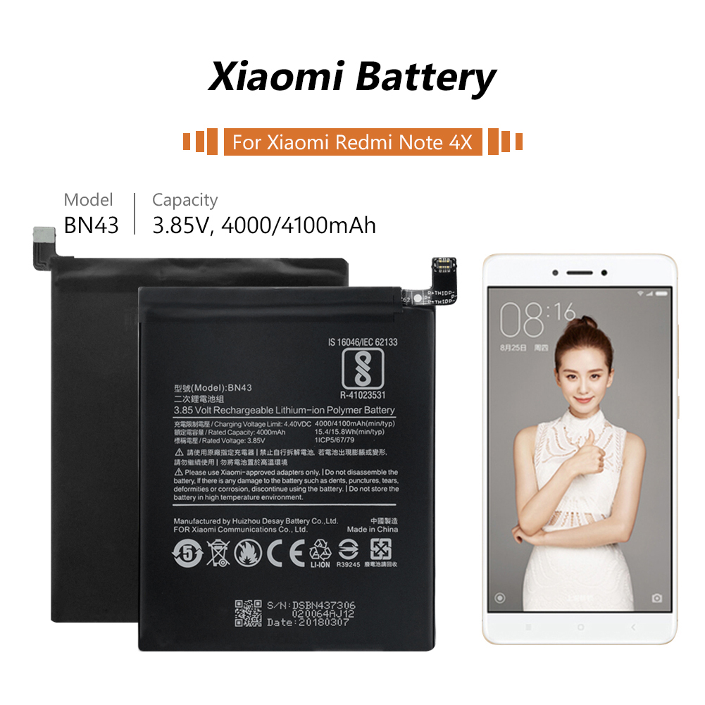 4100mAh Original BN 43 Battery BN43 BN 43 Rechargeable Battery For Xiaomi Redmi Note 4X Cell