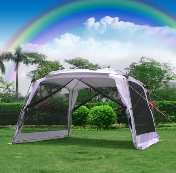 4 5-6 personne auvent argent enduit voiture parasol Portable pliant auvent de plage UV énorme abri tente Camping Pergola extérieure