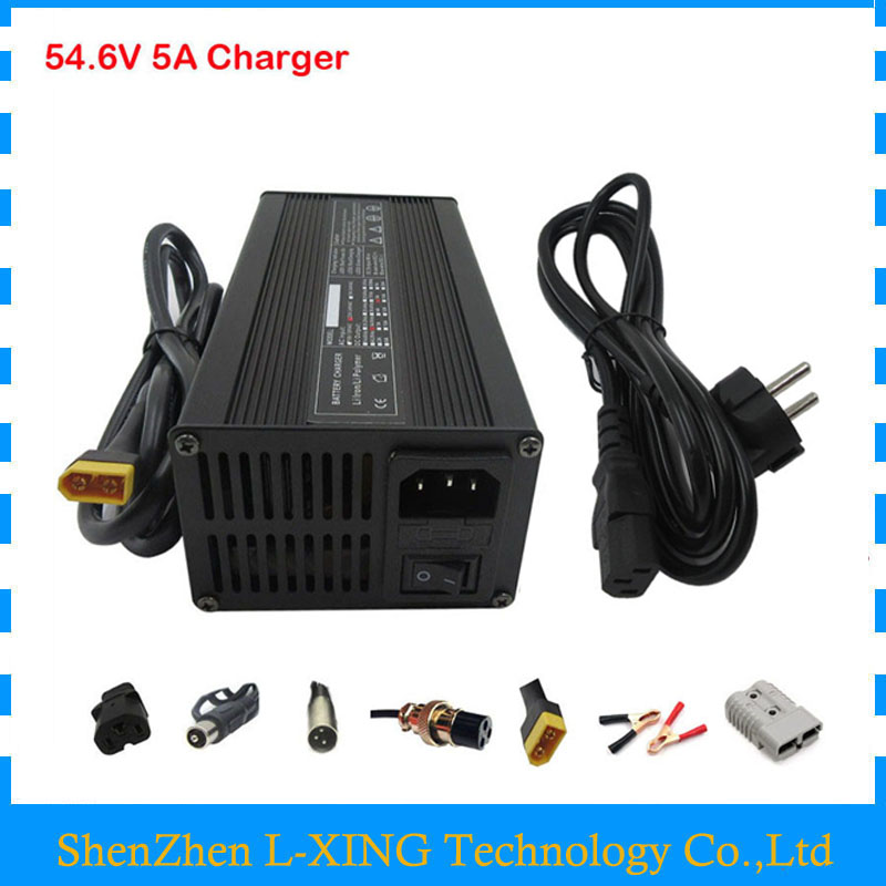 48V Lithium battery Charger Output 54.6V 5A charger use for 13S 48V ebike battery 54.6V5A Charger for 13S li-ion battery super power electric bike battery 48v 17 5ah li ion battery with sanyo ga 18650 cells for bafang 8fun 48v 750w 1000w ebike motor