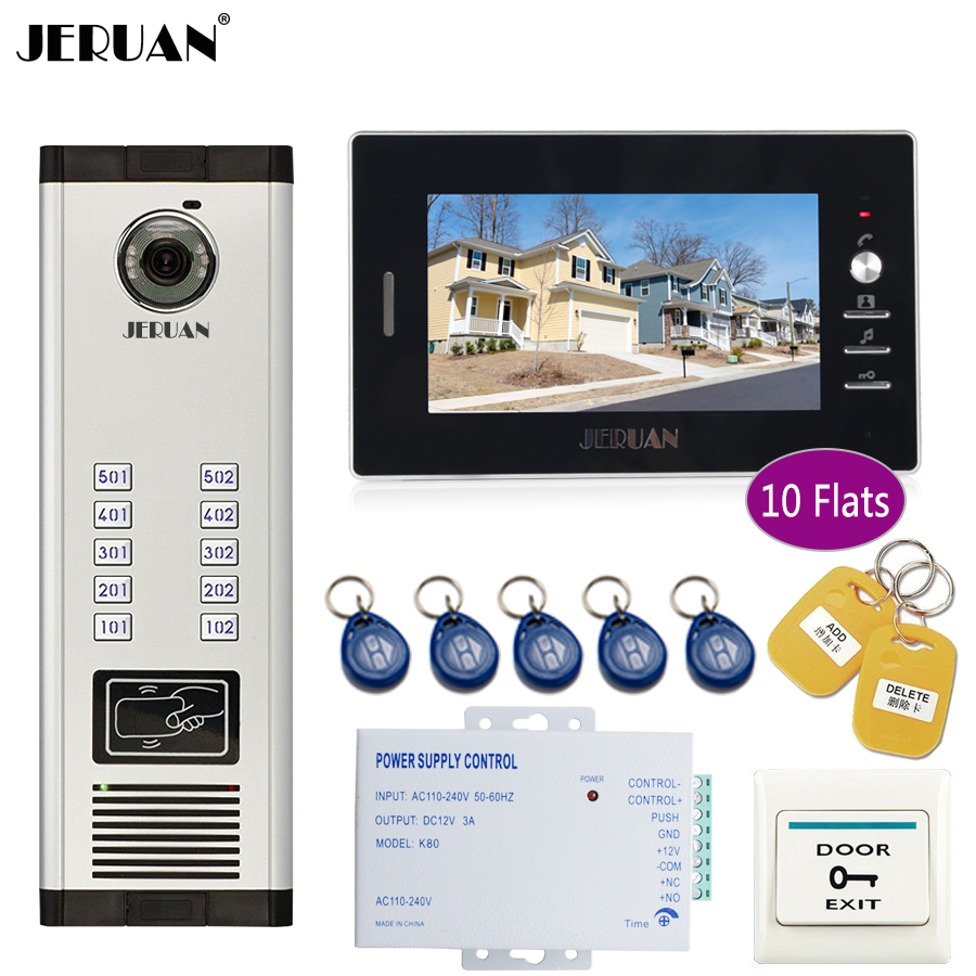 JERUAN 7 inch LCD Monitor 700TVL Camera Apartment video door phone 10 kit+Access Control Home Security Kit jeruan 7 inch lcd monitor 2 sets of 700tvl camera apartment video door phone 4 sets access control home security suite
