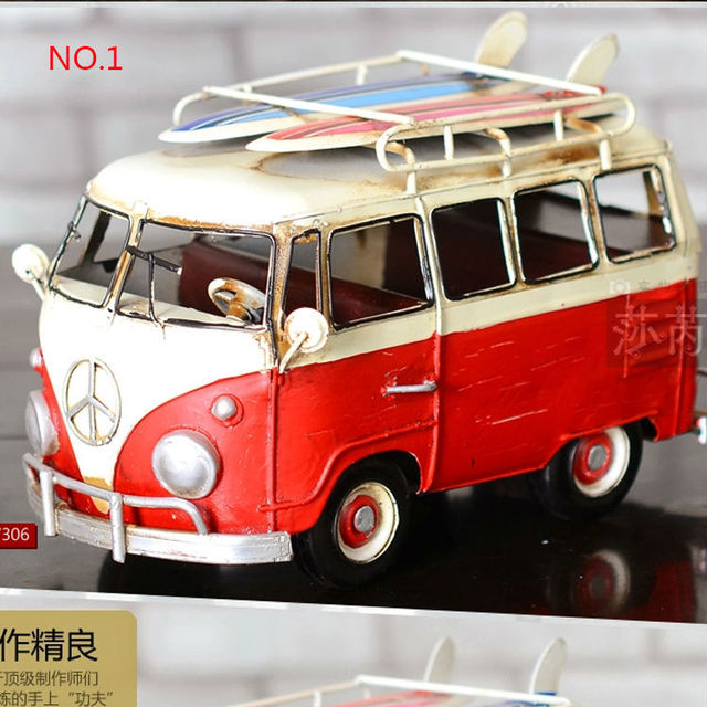 Creative Retro Handmade Metal Car Model Volkswagen Bus Vintage Cars Iron Clic Home Decorations Crafts