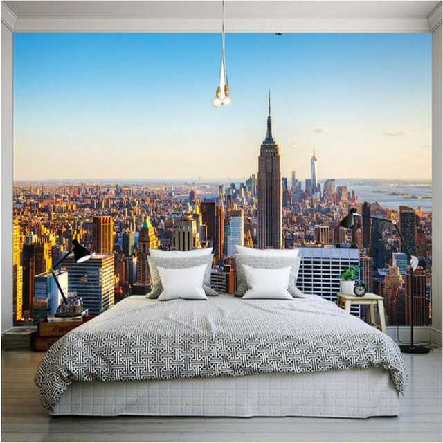 Customize Size Mural Wallpaper Background Empire New York Paint ...