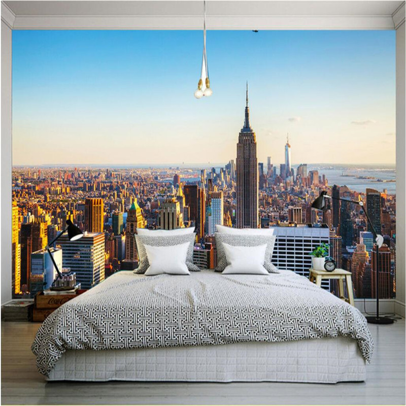 Customize size mural wallpaper background empire state for New york home decorations
