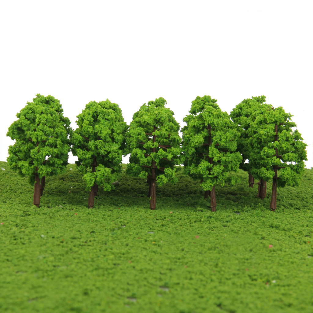 MagiDeal High Simulation 20Pcs/Lot Plastic Model Trees Rain Railroad Scenery 1/150 Scale For Street Railway Greenery Layout