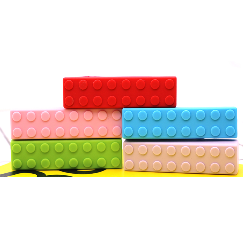 Legos anneau de dentition Silicone dentition pendentif collier sans BPA bébé jouet à mâcher Silicone bébé anneau de dentition jouet à croquer brique bâton