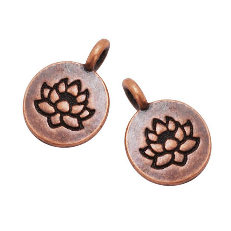 11.5mm Metal Round Charms With Lotus Pattern, Round Alloy Logo Pendant for Jewelry Making, 20pcs/lot
