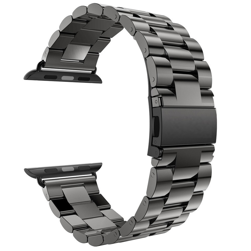 For Apple Watch Series 5 4 3 2 Band 42mm 40mm 44mm Black Stainless Steel Bracelet Strap Adapter For IWatch Band 4 3 38mm