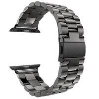 Für Apple Uhr Band 42mm 44mm Schwarz Gold Edelstahl Armband Schnalle Adapter für Apple Uhr 4 3 iWatch Band 38 40mm