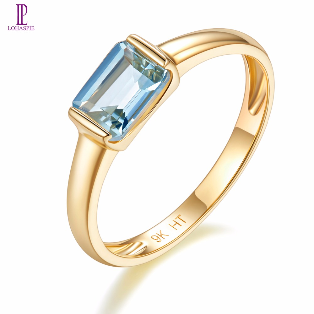 Natural Gemstone Aquamarine Yellow Gold Engagement Ring Solid 9K Fine Fashion Stone Jewelry For Women's Gift Lohaspie New lohaspie ocean party natural sapphire pendant solid 9k yellow gold mother of pearl starfish fine fashion stone pearl jewelry new