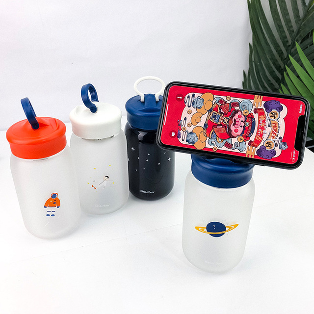 Creative Mobile Phone Holder Glass Water Bottle 1