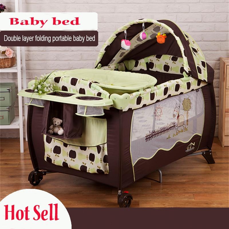 2016 Eco-friendly multifunctional folding baby crib infant baby bed portable playpen sleep game bed цены онлайн