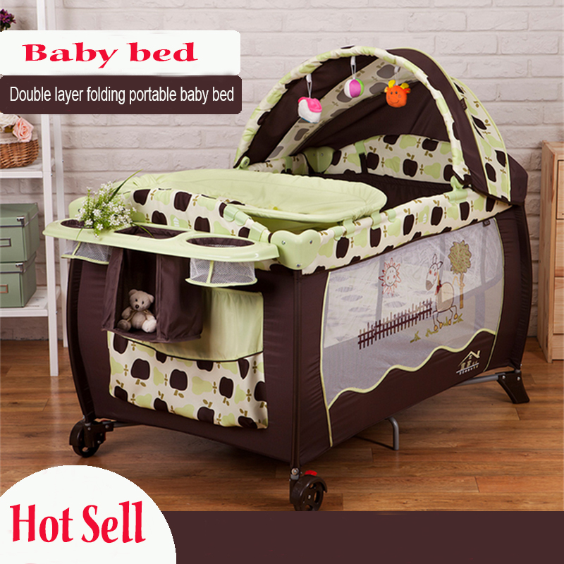 2016 Eco-friendly multifunctional folding baby crib infant baby bed portable playpen sleep game bed