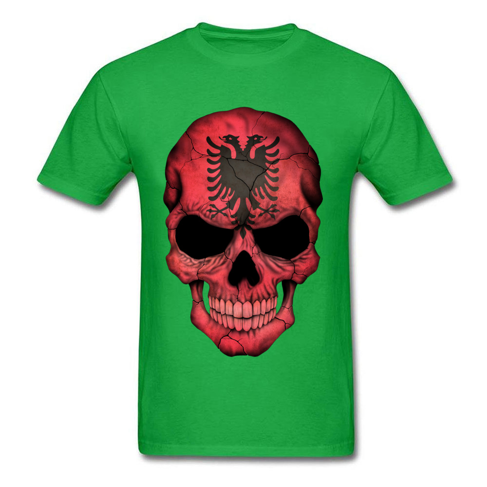 Albanian Flag Skull O-Neck T-Shirt NEW YEAR DAY Tops Tees Short Sleeve On Sale Cotton Casual Tops T Shirt Birthday Men's Albanian Flag Skull green