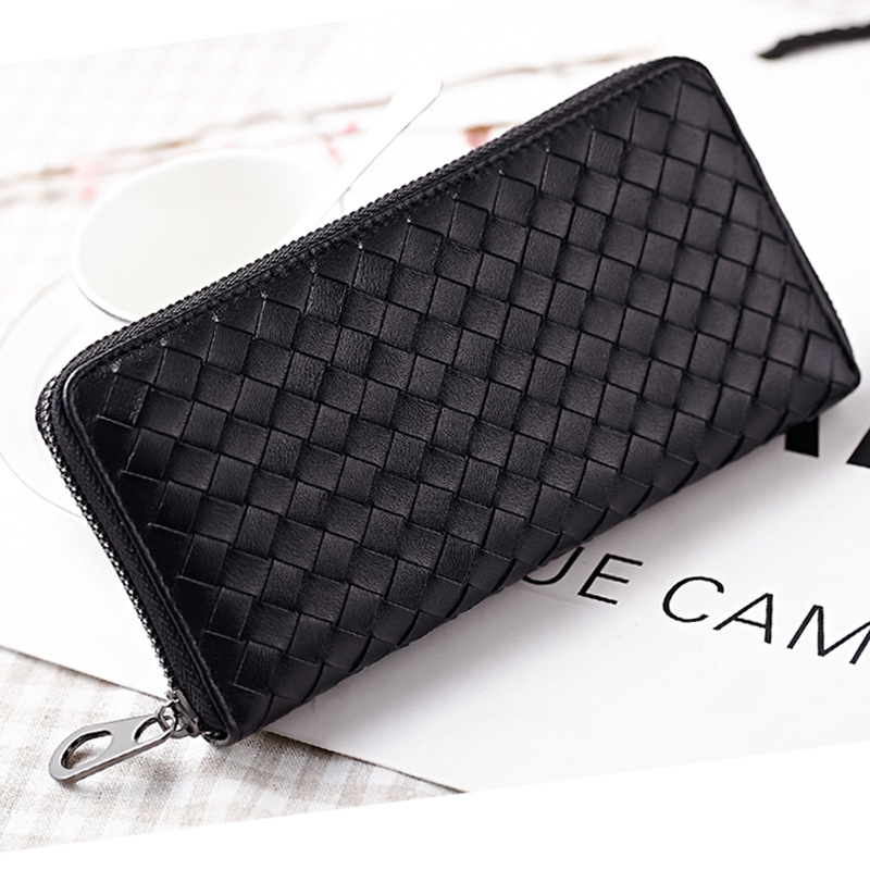 2017 High Quality Sheepskin Women Long Wallet Famous Brand Designer Bags Genuine Leather Woven Ladies Purses