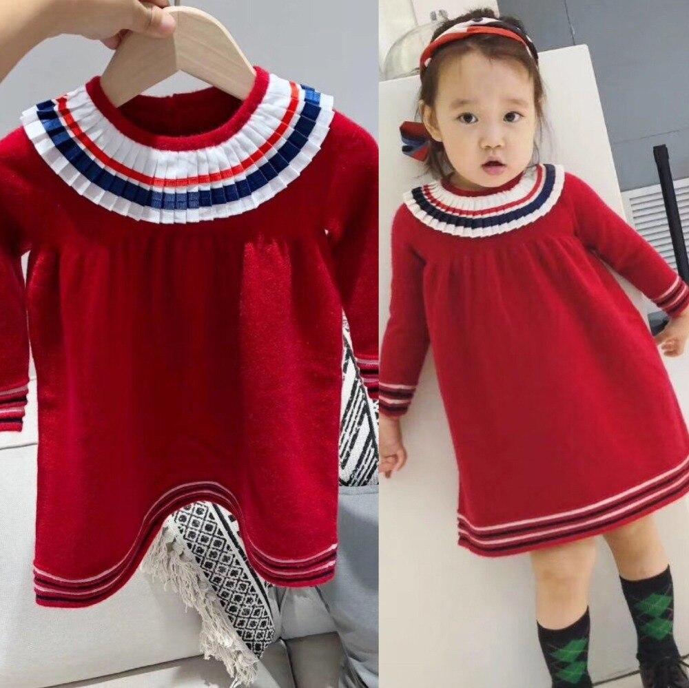 Girls knitted dress girls princess dress girls wool red color toddler christmas dress 2018 girls dress 100