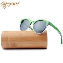 Vintage round wood sunglasses retro handmade skateboard wooden sun glasses polarized sport zonnebril oculo de sol feminino W3007