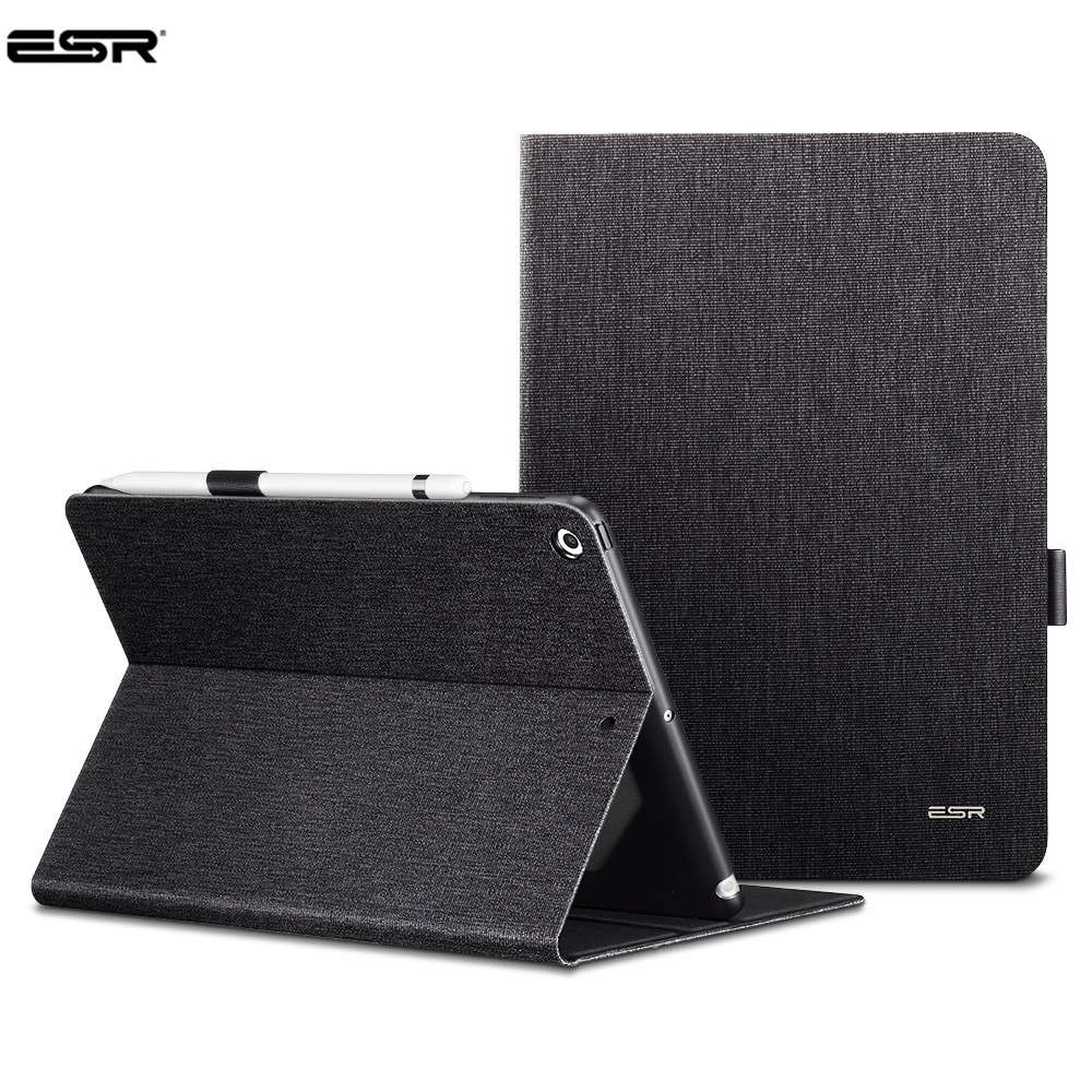 For Apple New IPad 9.7 Inch 2017 & 2018,ESR PU Leather Smart Cover Case with Pencil Holder for IPad 9.7 A1822 A1823 A1893 A1954 pu leather case for apple new ipad 9 7 2017 2018 a1822 a1893 cover for ipad air 1 2 ipad 5 6 hand holder stand case film pen