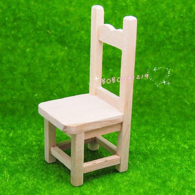 Dollhouse Miniature Meubles Jardin Une chaise en bois naturel ...