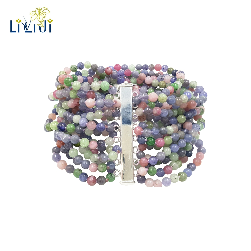 Lii Ji Unique Natural Stone Tanzanites,Tourmalines 16-Rows 925 Sterling Silver Bracelet For Women GiftLii Ji Unique Natural Stone Tanzanites,Tourmalines 16-Rows 925 Sterling Silver Bracelet For Women Gift