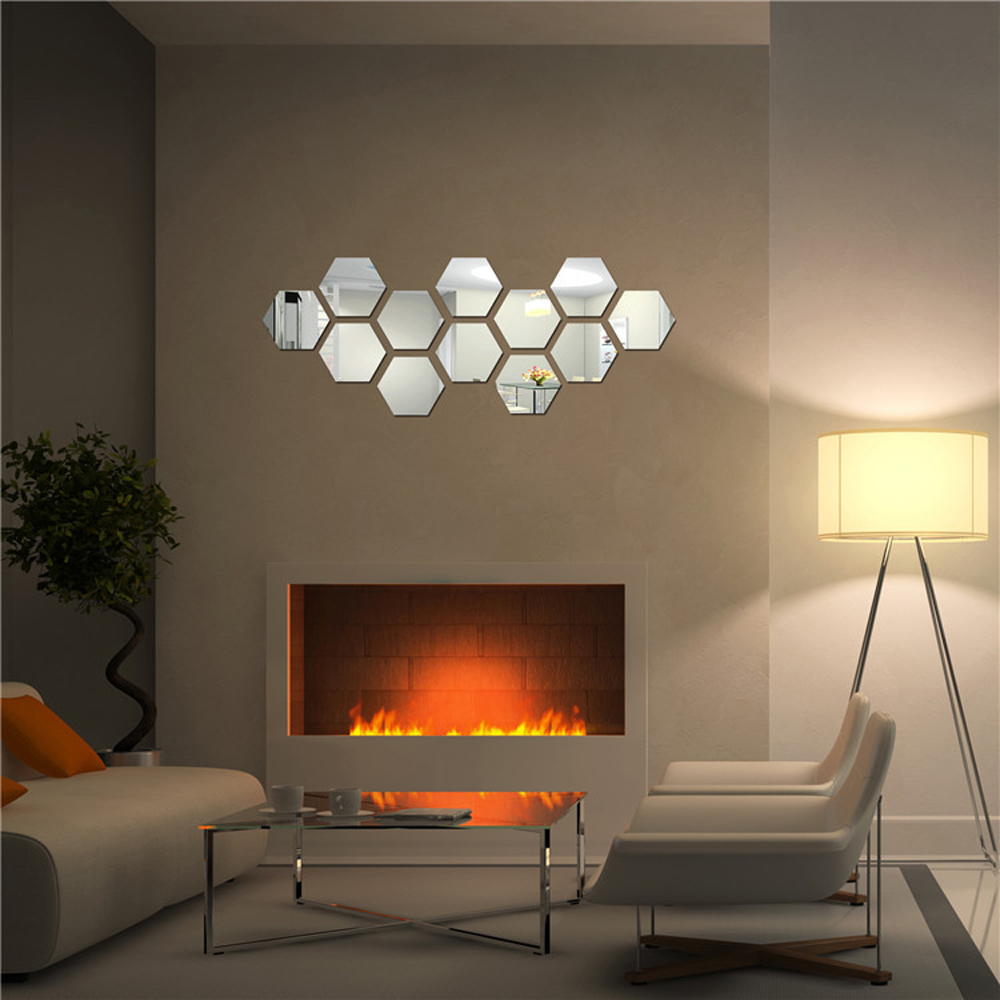 aliexpress com buy 12 pieces hexagonal wall decoration acrylic