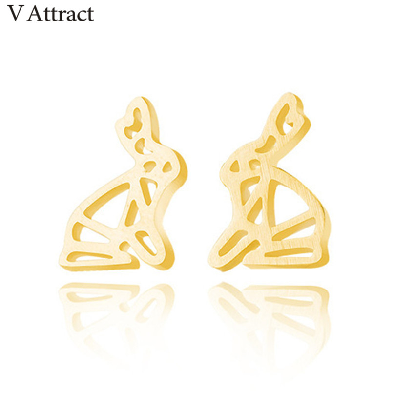 V Attract Gold Filled Women Outline Rabbit Stud Earings Bijoux Acier Inoxydable Femme Animal Oorbellen Valentines Day Gift
