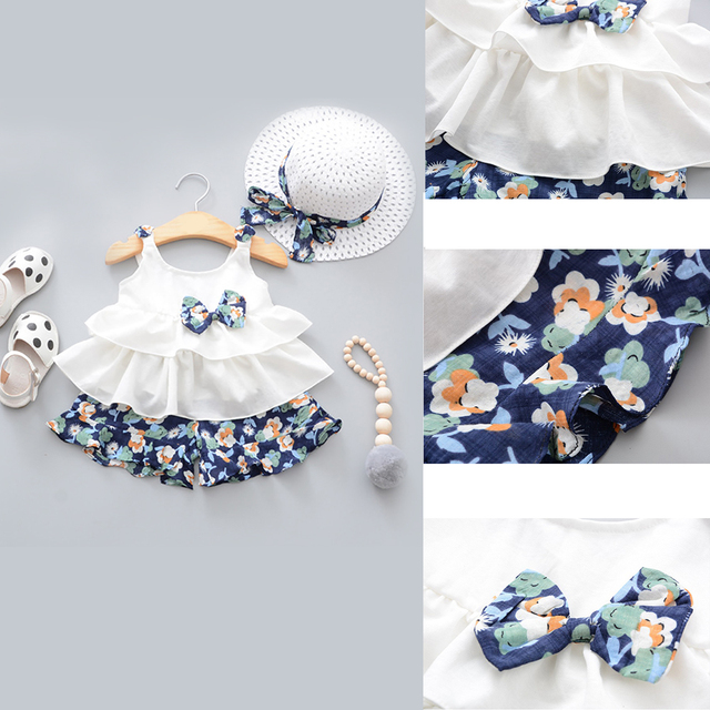 Baby clothes Summer Baby Girl Clothes Strap Bow Vest + Floral Shorts + Fashion Hat 3Pcs Set Baby Clothing Suit For Girls Clothes