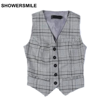 SHOWERSMILE Suit Vest Women Plaid Gilet Spring Short Waistcoat Female Sleeveless Blazer Jacket British Style Womens