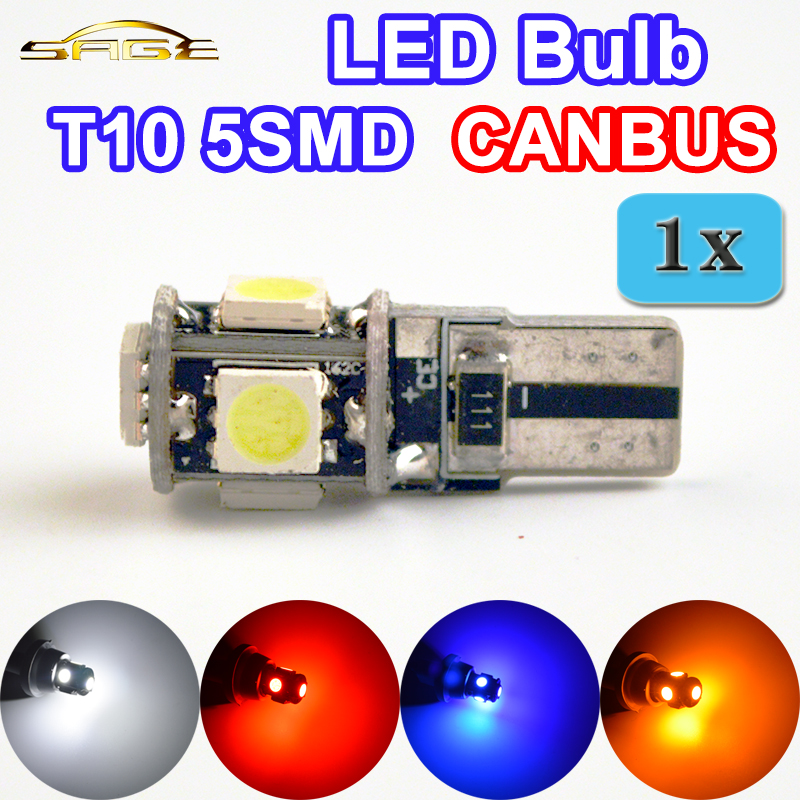 flytop T10 5SMD LED CANBUS 5050 SMD W5W 194 Error Free Car Light Auto Bulb White Red Blue Yellow Color CAN BUS Automotive Lamp 10pcs led car interior bulb canbus error free t10 white 5730 8smd led 12v car side wedge light white lamp auto bulb car styling