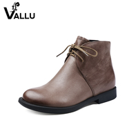 New Arrival Ankle Boots Ladies 2017 Genuine Leather Lace Up Women Shoes Chunky Heel Solid Handmade