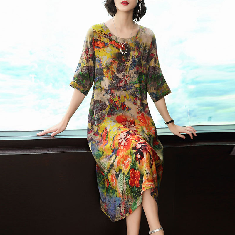 Spring And Summer New Silk Dress Female Fashion Loose Comfortable Vestidos Large Size M-3XL High Quality Party Elegant Dress