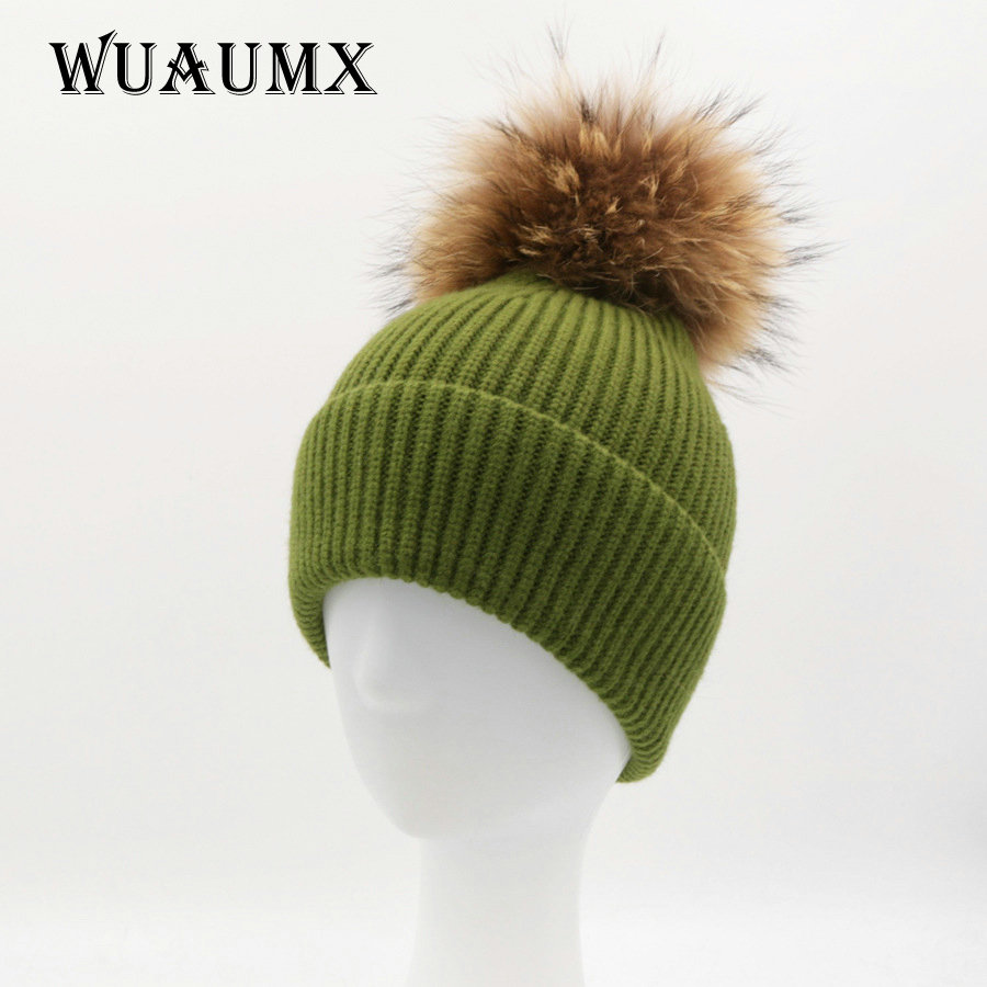 Wuaumx Brand Warm Beanies Winter Hats For Women Real Raccoon Fur Pom Poms Winter Hat Female Knitted Skullies Casual Girls Cap wool hats for women real fur pom pom hat solid winter knitted skullies and beanies raccoon fur ball black brand ladies cap