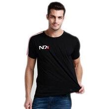 N7マスエフェクト3 tシャツ男性システム提携軍事エンブレムゲームトップtシャツoネックtシャツコットンメンズ送料無料の卸売
