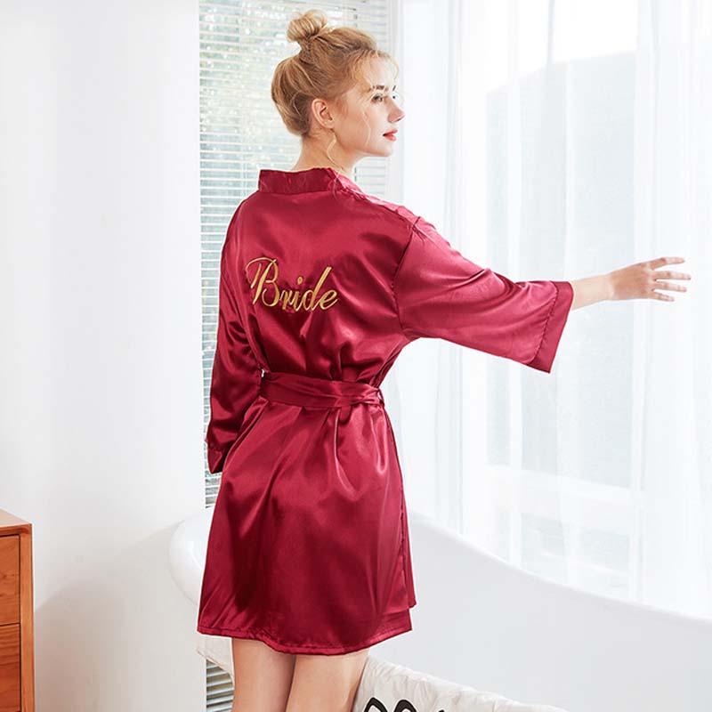 Roseheart Spring Pink Red Women Fashion Sleepwear Nightwear Sexy Mini Robes Faux Silk Embroidery Woven Bathrobe Plus Size Pajama