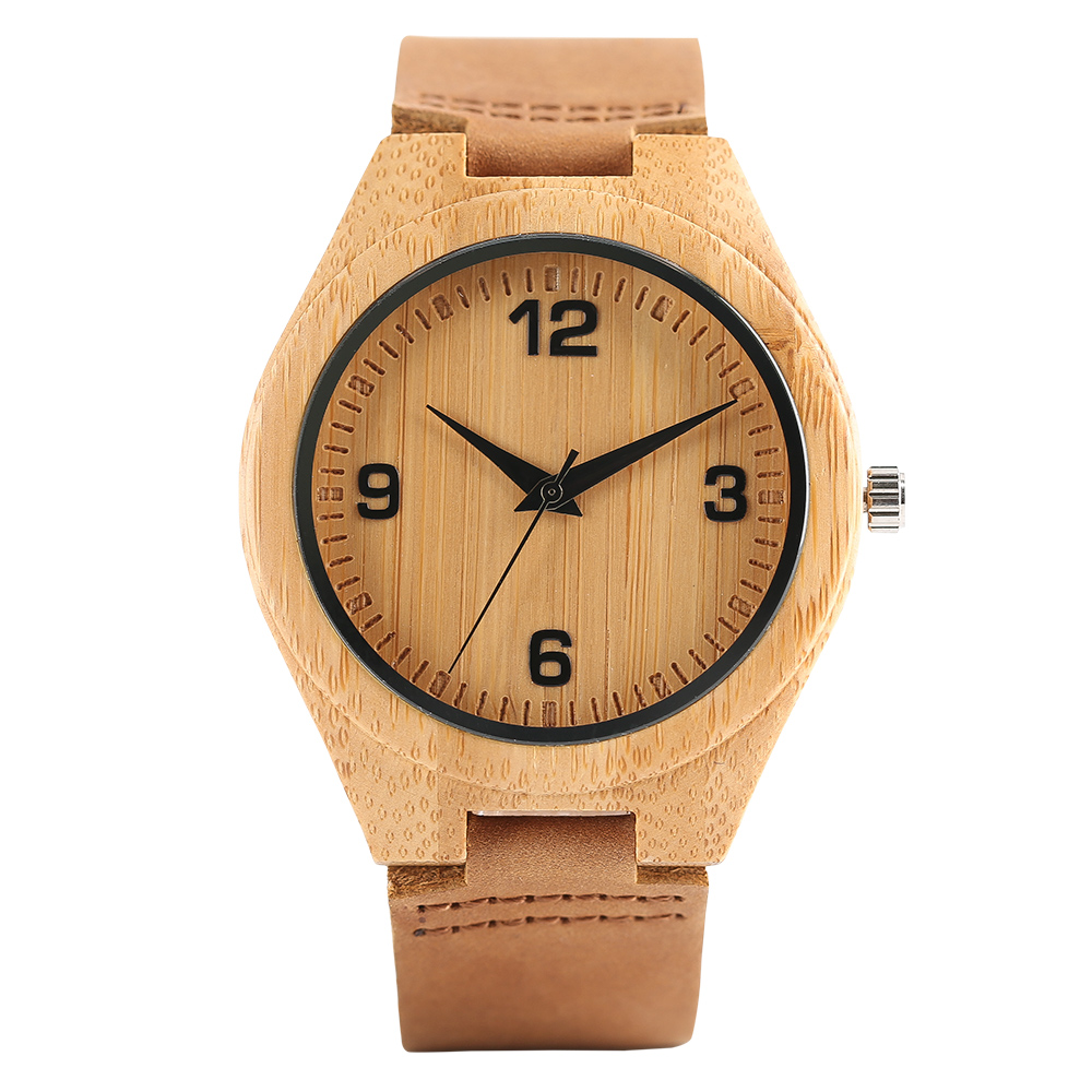 Mens Wood Bamboo Watches 100% Nature Original Wooden Wrist Watch Handmade Genuine Leather Analog Quartz Clock Relogio Masculino mens creative wooden watch bamboo handmade genuine leather band strap analog quartz wood wristwatch gift