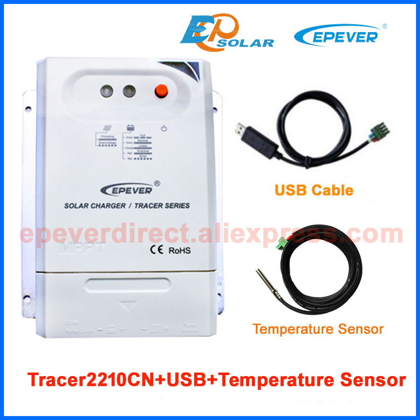 Tracer CN series MPPT 20A 2210CN with USb cable connect PC communication and Temp sensor 20amp 12V 24V Auto work