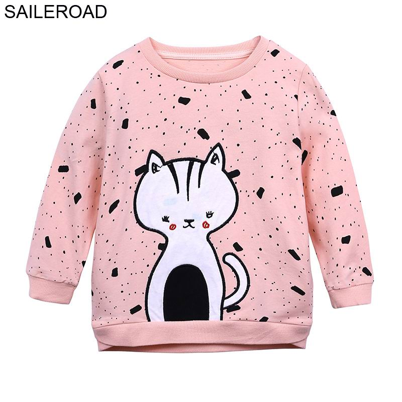 SAILEROAD Girls Long Sleeve Sweatshirts for Toddler Top Shirts Cartoon Cats Baby Kids O Neck Hoodies Clothes Autumn Clothing