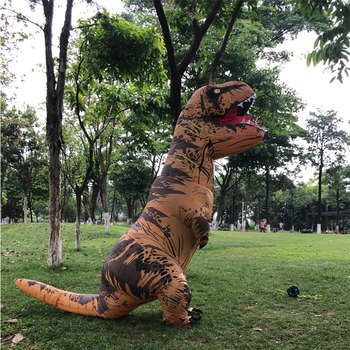 Cosplay Feminino t rex Dino Rider Suit T-Rex Costume Purim Adult Men Halloween Inflatable T Rex Dinosaur Costume For Kids Women 1