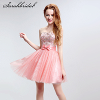 2017 New Arrival Sweet Pink Mini A line Homecoming Dresses Open Back With Crystal Sequins Beading Evening Gowns In Stock LSX136
