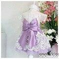 2016 de Encaje Blanco Vestido de niña de las flores vestidos de Fiesta de Cumpleaños del bebé belleza muchacha del niño vestidos del desfile vestidos de bola