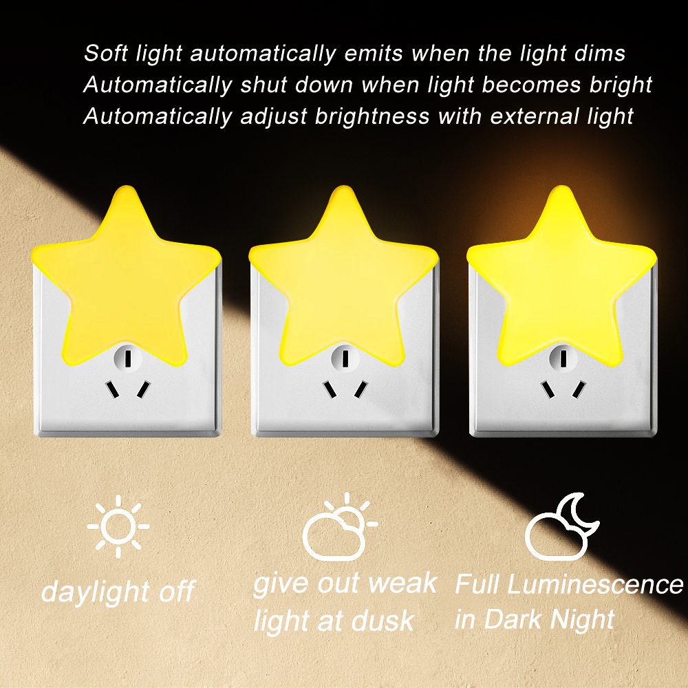 Image 4 - 4Color Mini Star LED Night Light With EU/US Plug for Dark Night Baby Sleeping Light Bedside Lamps LED Sensor Control Night Light-in LED Night Lights from Lights & Lighting