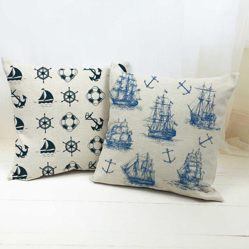 2pcs throw ocean coastal sailing world map compass cushion cover