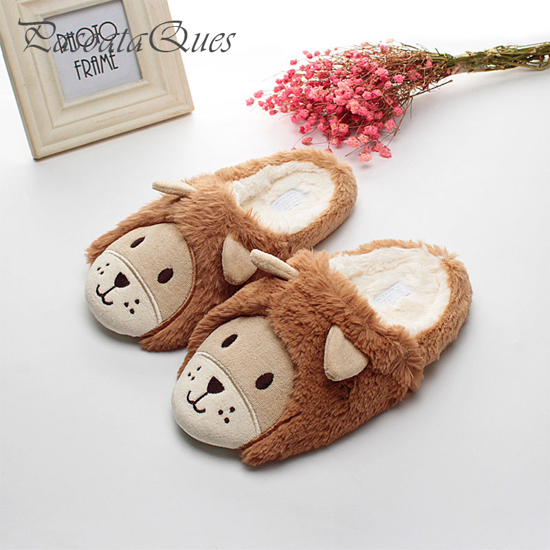 New Cute Animal Women Home Slippers Men House Shoes Warm For Girls Ladies Indoor Bedroom Cotton Female Winter Soft Bottom Flats winter women slippers home warm soft fur slippers fashion cute shoes new anti slip home shoes foot warmer house slippers x1048