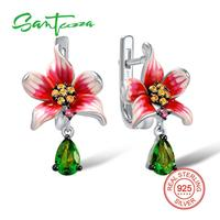 Silver Drop Earrings Handmade Enamel Flower White Cubic Zirconia Stone Pure 925 Sterling Silver Woman Earrings