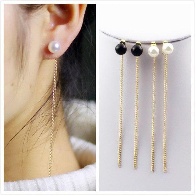 Long Imitation Pearl Earring Tassel Line Pendant Erring Women Chain Earring Handmade FashionJewelry boucle d'oreille longue e054