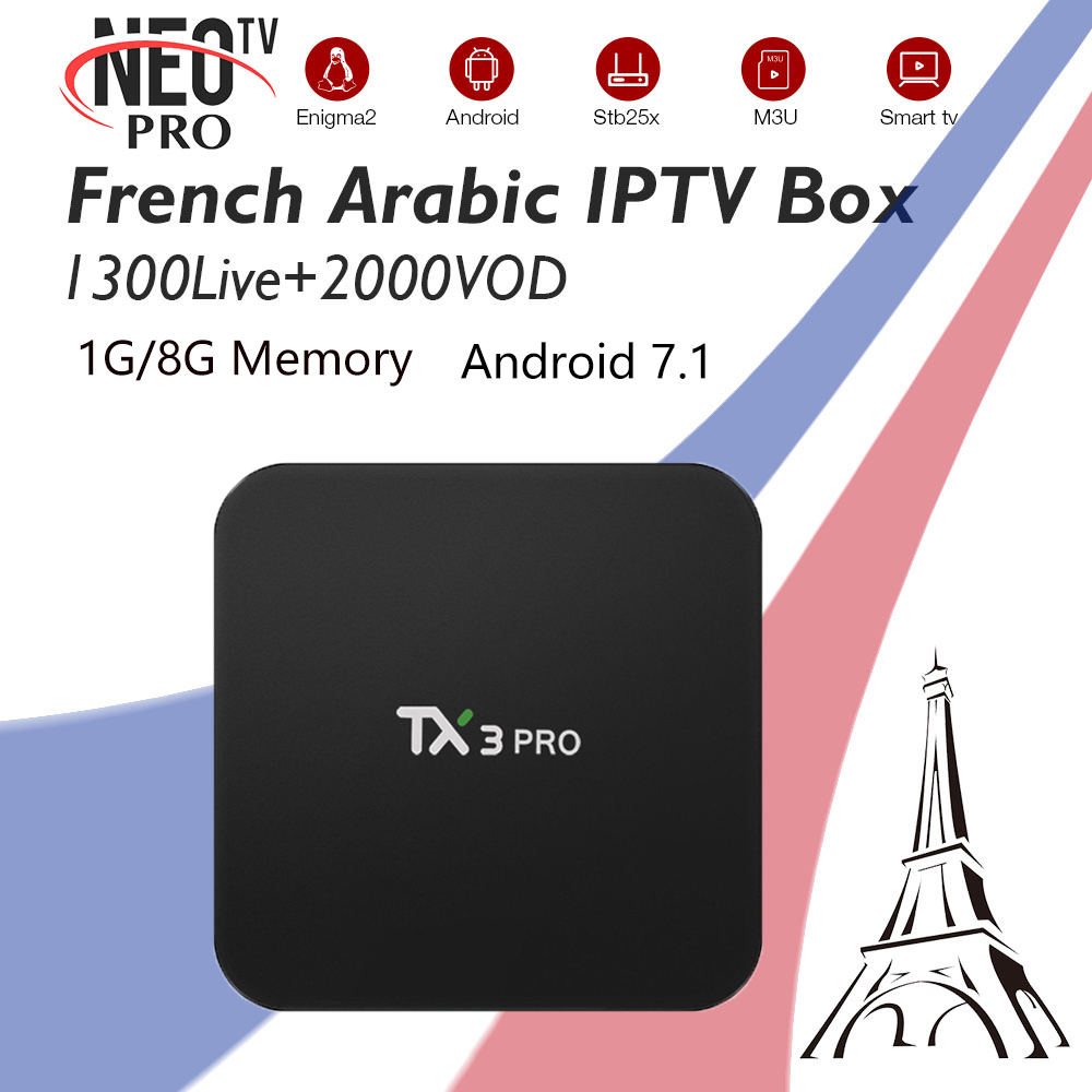 TX3Pro Best French Belgium Arabic IPTV Subscription NeoTV 1300 Live 2000 VOD Amlogic S905W 1G 8G WiFi Smart 4K Android 7.1 Box телеприставка mobase mxiii amlogic s802 android iptv 2 0 4 4 2 octa gpu 4k 1g 8g xbmc