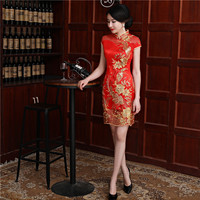 New Arrival Red Embroidery Ladies Sexy Mini Short Sleeve Qipao Dress Chinese Traditional Lace Cheongsam Size