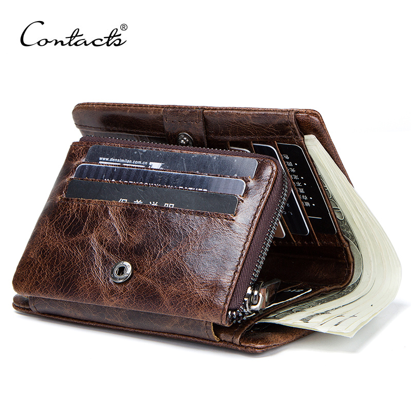 Genuine Leather Men Wallet With Coin Pocket Vintage Hasp Mens Wallets With Card Holder Luxury Brand Short Zip Coin Purse For Men