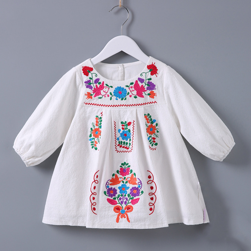 RMBkids Pure Cotton Embroidery baby girls dresses Spring and Autumn New Spanish style infant girl dress for 0-3 years old