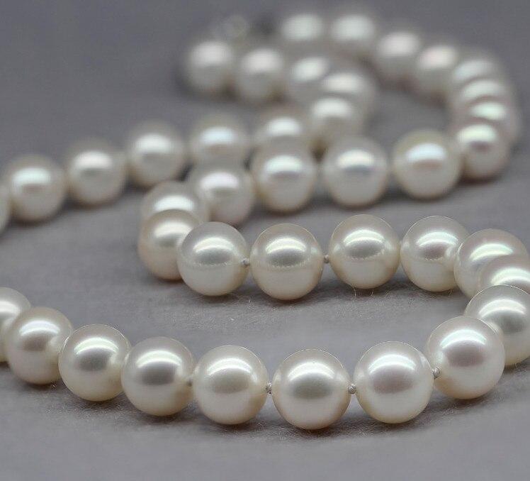Femmes cadeau mot 925 en argent Sterling réel expédition poney luxe collier de perles rond naturel impeccable fort noble tempérament 9-1
