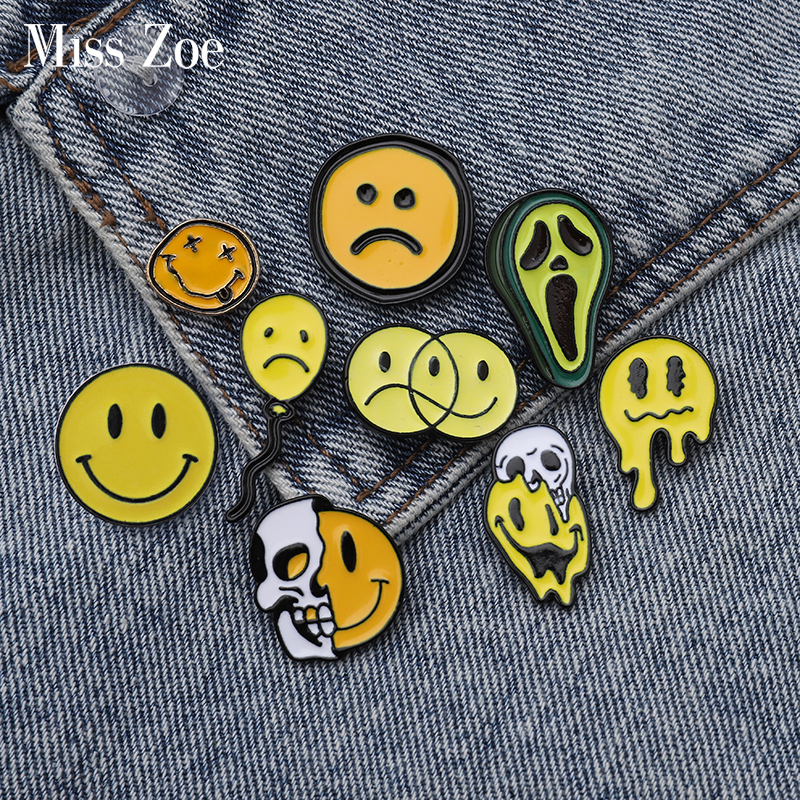 Emoji Enamel Pin Happy Unhappy Emoji Balloon Avocado Brooches Bag Clothes Lapel Pin Badge Punk Funny Jewelry Gift For Friends